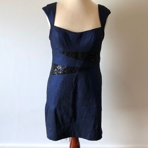 Fun, sexy shimmery blue black dress